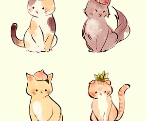 cats, cute, and drawing image