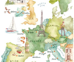 travel, europe, and map image