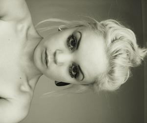 black and white, blond hair, and Nude image