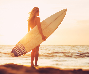 beach, surfboard, and surfer image