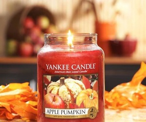 apple, candle, and pumpkin image