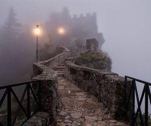 bridge, castle, and fog image