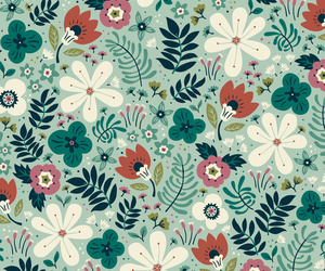 flower pattern, flowers, and mint image
