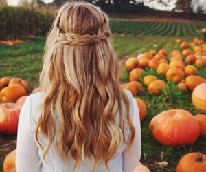 autumn, hair, and pumpkin image