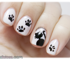 diy, nail art, and cat image