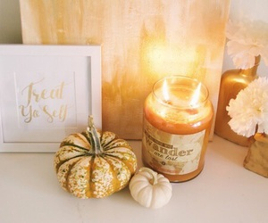 pumpkin, candle, and fall image