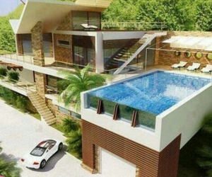house, pool, and car image