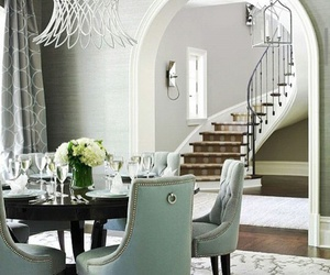 dinner room, stairs, and grey house image