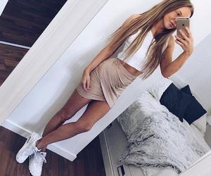 fashion, skirt, and hair image
