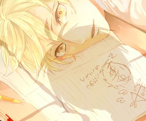 blond hair, anime boy, and yellow hair image