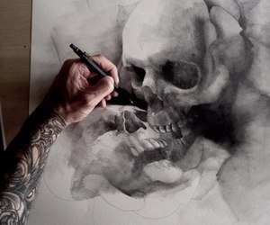drawing, scull, and tattoo image