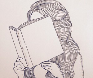 book, girl, and drawing image
