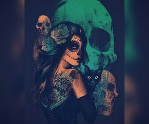 skull, cat, and girl image