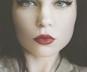 make up, red lips, and makeup image
