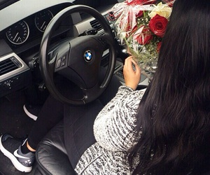bmw, roses, and girl image