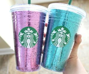 starbucks, glitter, and blue image