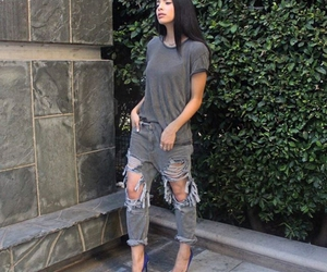 royal blue pumps and grey ripped jeans image