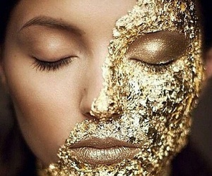 gold, makeup, and face image