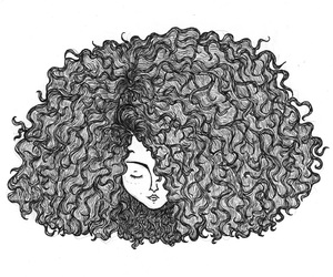 drawing, hair, and nature image