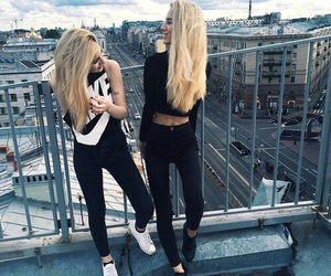 black, blonde, and fashion image
