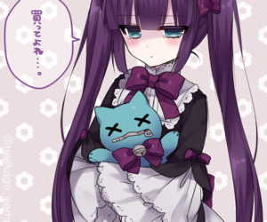 anime girl, stuffed animal, and cute image