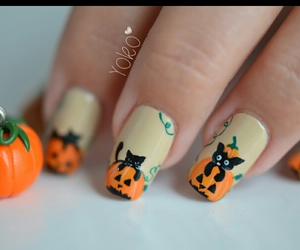 nails, Halloween, and cat image