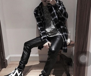 asian boy, black, and korean fashion image