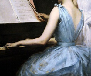 painting, piano, and art image