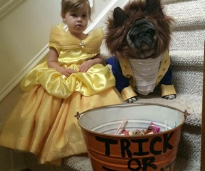 Halloween, beauty and the beast, and dog image