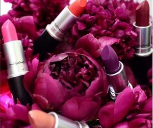 lipstick, mac, and flowers image