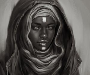 artwork, black woman, and illustration image