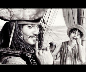 luffy, one piece, and jack sparrow image