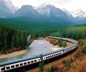 mountains, train, and forest image