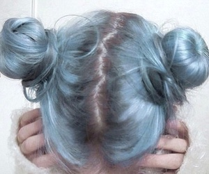 blue, bun, and hair image