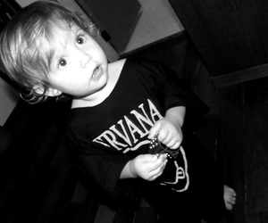 nirvana, baby, and black and white image