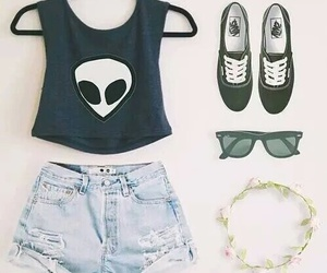 outfit, alien, and vans image
