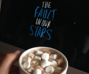 hot choclate, the fault in our stars, and mini marsmellows image