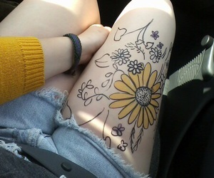 flowers, yellow, and tattoo image