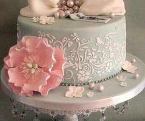 cake, flowers, and bow image