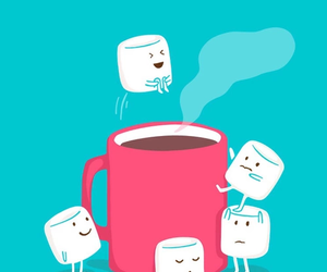 wallpaper, marshmallow, and coffee image