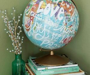 art, room decor, and globe image
