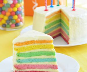 food, rainbow, and cake image