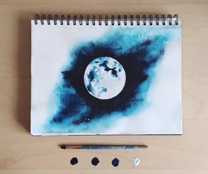 moon, art, and blue image