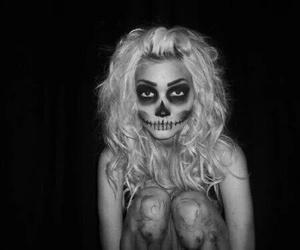 black&white, night, and girl image