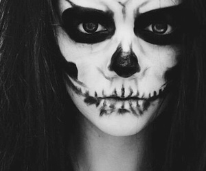 girl, black and white, and skull image