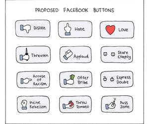 facebook, funny, and buttons image