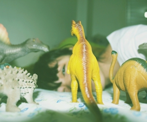 bed, bedroom, and dinosaurs image
