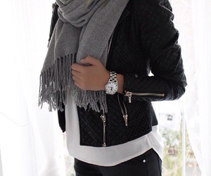 fall, leather jacket, and outfit image