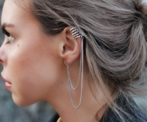 beautiful, blonde, and earrings image