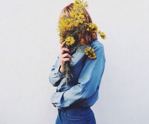 flowers, girl, and yellow image
